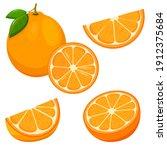 orange. set of fresh whole ... | Shutterstock .eps vector #1912375684