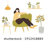 young woman sitting in... | Shutterstock .eps vector #1912418884