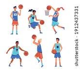 Women And Men Play Basketball....