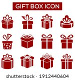 Red Gift Box Icon Set Collection
