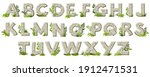 cartoon rock alphabet font with ...