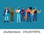 six women different professions ... | Shutterstock .eps vector #1912474591