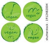 set flat green vegan icon.... | Shutterstock .eps vector #1912482004