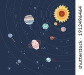 solar system planet vector... | Shutterstock .eps vector #1912496464