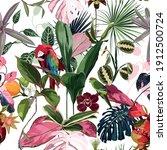 tropical floral print. parrot...   Shutterstock .eps vector #1912500724