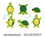 collection of green turtle... | Shutterstock .eps vector #1912525357
