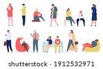 people with phones. young men... | Shutterstock .eps vector #1912532971