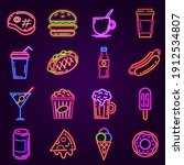 neon fast food. glowing icon...   Shutterstock .eps vector #1912534807