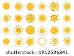 cartoon sun icon. flat and hand ... | Shutterstock .eps vector #1912536841