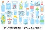 cartoon water bottles. detox...   Shutterstock .eps vector #1912537864