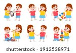 brother and sister fight.... | Shutterstock .eps vector #1912538971
