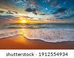 Beach Sunrise Over The Tropical ...