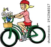 this girl is enjoying a bike... | Shutterstock .eps vector #1912568317