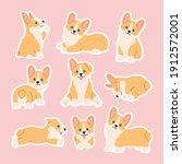 kawaii corgi stickers set ... | Shutterstock .eps vector #1912572001