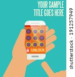 phone unlocking pattern vector...