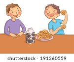 two boys eating cookies and... | Shutterstock .eps vector #191260559