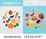 healthy food and fast food... | Shutterstock .eps vector #1912613197