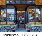 Small photo of Banff, Canada - december 2020 : front view of Evelyn's Coffee World