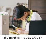 school kid with recycled and...   Shutterstock . vector #1912677367