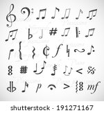 music notes and signs hand...   Shutterstock .eps vector #191271167