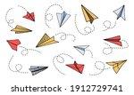 doodle paper plane. hand drawn... | Shutterstock .eps vector #1912729741