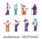 cartoon wizard. magician old... | Shutterstock .eps vector #1912731067