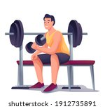 young man exercising with... | Shutterstock .eps vector #1912735891