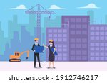 male contractor and investor... | Shutterstock .eps vector #1912746217