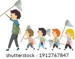 illustration of stickman kids... | Shutterstock .eps vector #1912767847