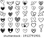 vector set hand drawn hearts ... | Shutterstock .eps vector #1912791901