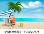 beach with palm trees and beach ...   Shutterstock . vector #191279975