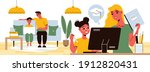 distance learning composition... | Shutterstock .eps vector #1912820431
