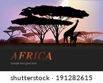 africa giraffe silhouettes with ... | Shutterstock .eps vector #191282615