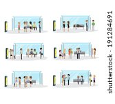 people waiting at the bus stop  ... | Shutterstock .eps vector #191284691