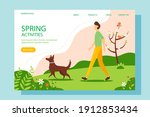 man walking with the dog in the ... | Shutterstock .eps vector #1912853434