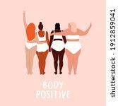 body positive. love your body.... | Shutterstock .eps vector #1912859041