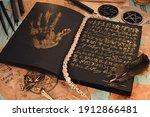 open grimoire book of magic...   Shutterstock . vector #1912866481