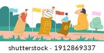 sack race concept with happy... | Shutterstock .eps vector #1912869337