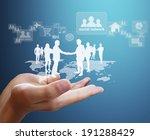 open palm hand social network...   Shutterstock . vector #191288429