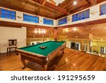 pool table in luxury home   Shutterstock . vector #191295659