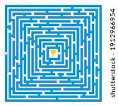 labyrinth game. square maze...   Shutterstock .eps vector #1912966954
