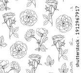 pattern flowers vector line...   Shutterstock .eps vector #1912967917