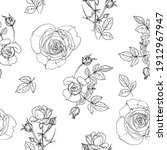 pattern flowers vector line...   Shutterstock .eps vector #1912967947