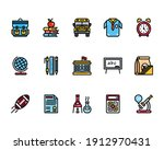 education icon set with school... | Shutterstock .eps vector #1912970431