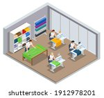 isometric sewing workshop... | Shutterstock .eps vector #1912978201