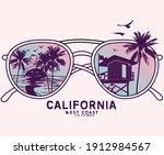 beach vibes retro sunglass... | Shutterstock .eps vector #1912984567