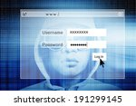 hacker with log on screen... | Shutterstock . vector #191299145
