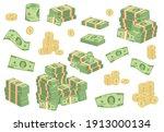 cartoon money bills. green... | Shutterstock .eps vector #1913000134