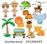 African safari vector  illustration - stock vector