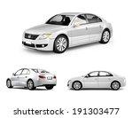 Stock photo three dimensional image of white car 191303477